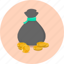 bag, coin, coin bag, dollar, finance, money, saving icon