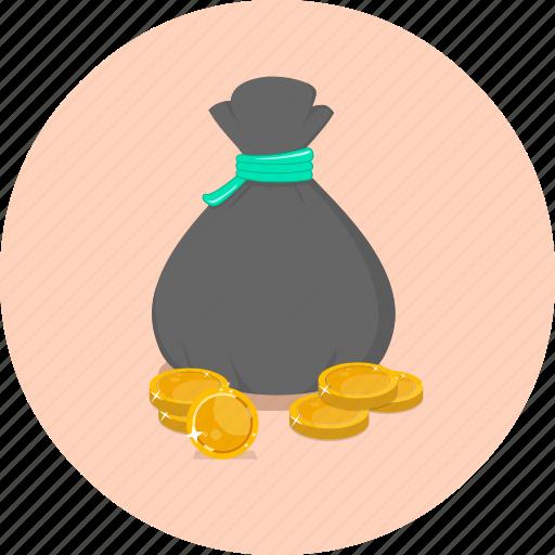 bag, coin, coin bag, dollar, finance, money, saving icon