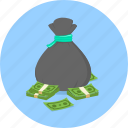 bag, cash, dollar, money bag, notes, profit, saving icon