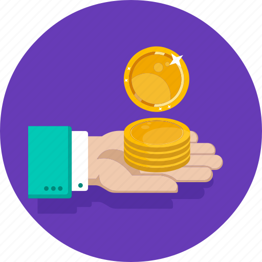 coin, coin in had, dollar, hand, money, profit, saving icon