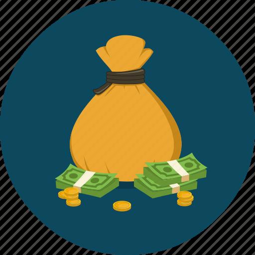 bag, cash, coin, money, money bag, profit, saving icon