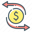 arrows, money, transfer, transfers icon