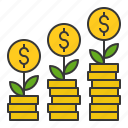 bank, banking, business, cash, currency, finance, growth, money grow icon