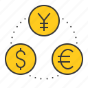 banking, business, cash, currency, currency exchange, finance, money icon