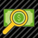 banking, business, cash, finance, investigate, money investigate, search icon