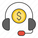 business, call center, cash, currency, finance, money, consultant icon