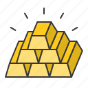 banking, currency, finance, fund, gold, gold bar, money icon