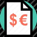 dollar, euro, page icon