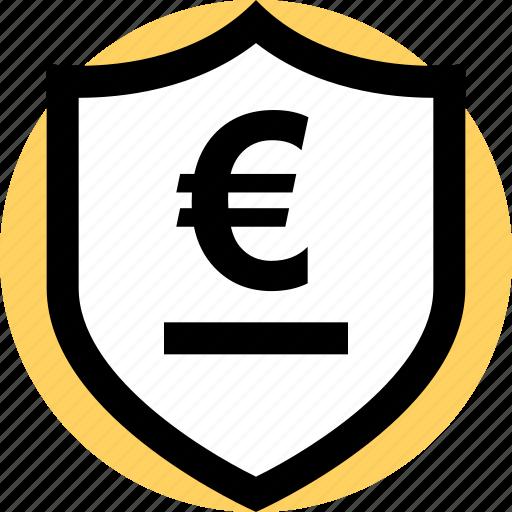 euro, security, shield icon