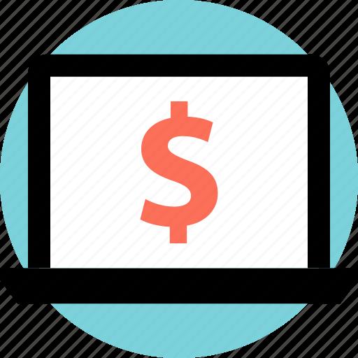 dollar, laptop, money icon