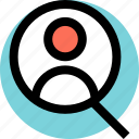 find, look, user icon