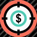 dollar, goal, target icon