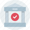 bank, banking, checkmark, money icon