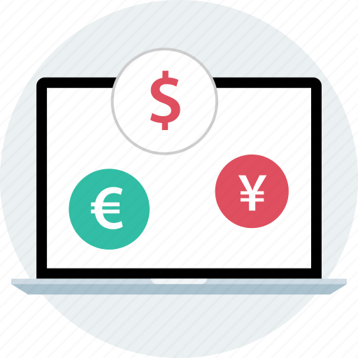 currencies, currency, laptop icon