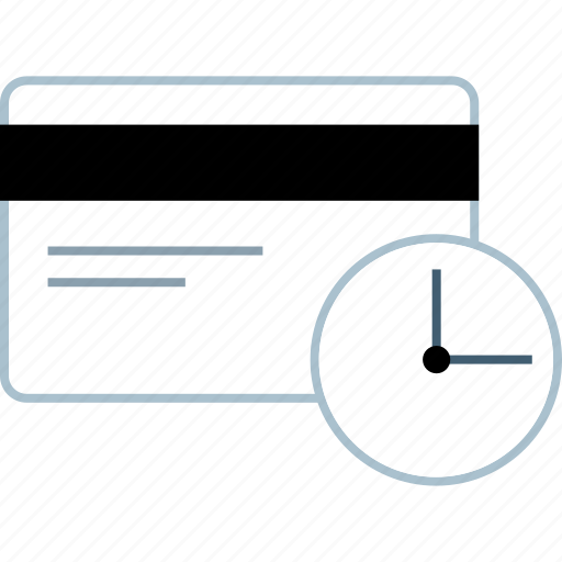 card, credit, money, time icon