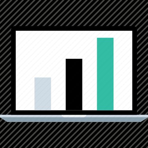 data, graph, laptop icon