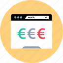 euro, online, sign, www icon