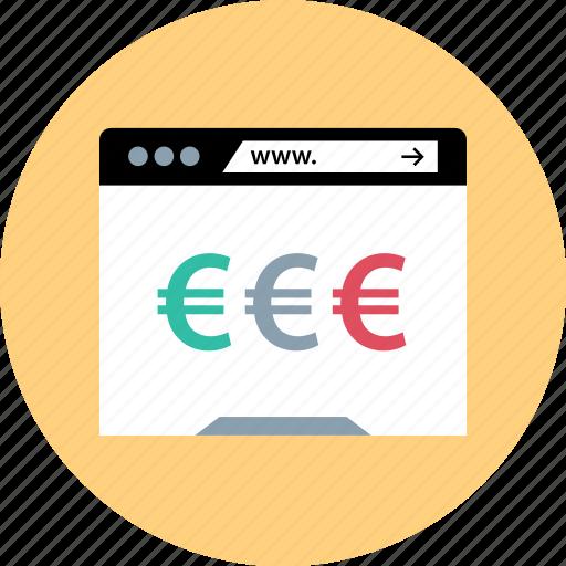 euro, online, sign, www icon