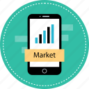 market, mobile, stock, value icon