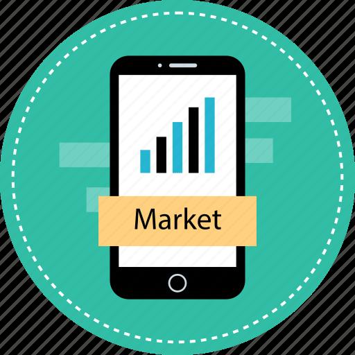 market, mobile, stock, value icon