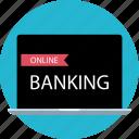banking, laptop, online, web icon