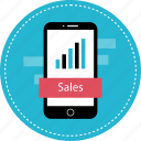 finance, mobile, numbers, sales icon