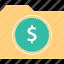 dollar, file, folder, sign icon