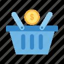 add, basket, commerce, ecommerce, market, money bag icon