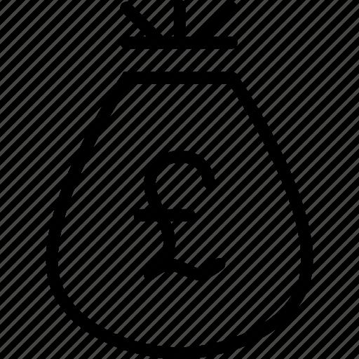 bag, cash, finance, funds, money, pound, reward icon