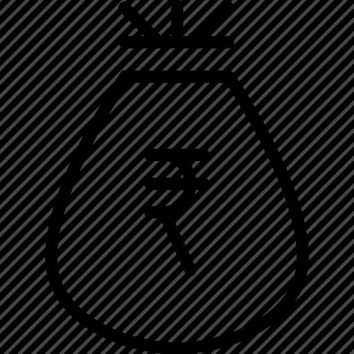 bag, business, finance, money, prize, reward, rupee icon