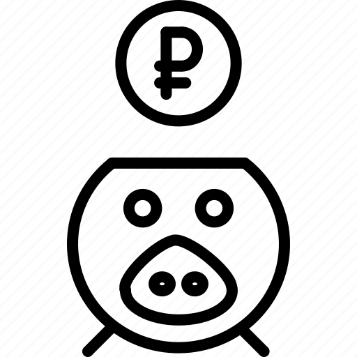 bank, banking, finance, piggy, ruble, save, savings icon