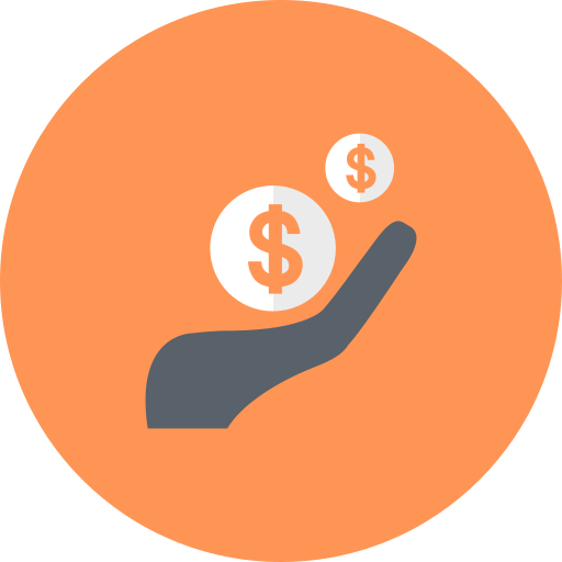 cash, coins, hand, income, investment, money, revenue icon