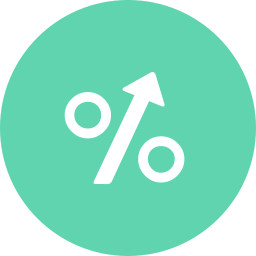 arrow, arrow up, interest, percentage, sign icon