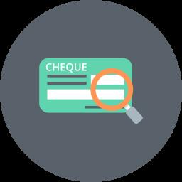banking, cash, check, cheque, explore, finance, magnifier icon