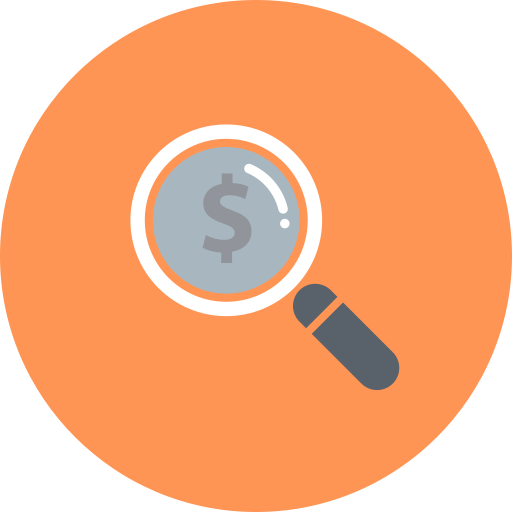 coin, currency, dollar, explore, funding, investment, magnifier icon