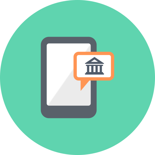 bank, gps, location, marker, mobile, point, smartphone icon