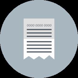 bill, invoice, paid, paper, receipt icon