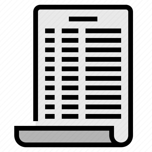 data, document, page, paper, report, statement icon