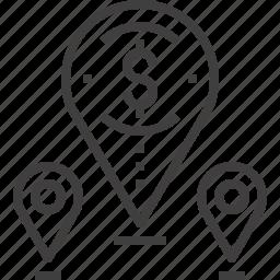 address, gps, location, map, marker, money, navigation icon