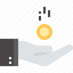 charity, debt, donation, hand, loan, money, payment icon