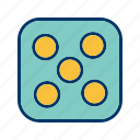 casino, dice, five, game icon