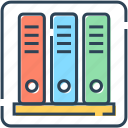 archives, book, documents, files, finance, rack icon