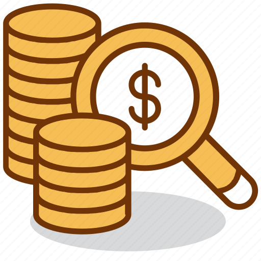 analysis, business, coin, finance, magnifier, money, research icon
