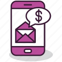 envelope, mobile, money, payment, smartphone, sms, transactions icon