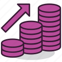 arrow, business, coin, finance, growth, money, profit icon