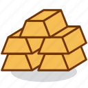 bar, business, finance, gold, money, nugget, rich icon