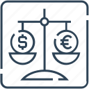 balance, dollar, euro, justice, law, legal, scale icon