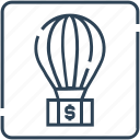 air, balloon, business, growth, investment, money, travel icon