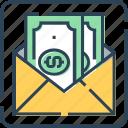 cash, dollar, email, envelope, mailbox, money, payment
