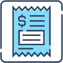 banking, bill, check, dollar, finance, receipt icon